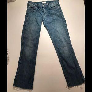 Mother Rascal Cuff Denim Jeans Size 25 Frayed Hem.